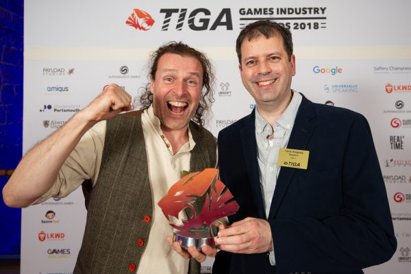 TIGA Games Industry Awards at the Guildhall London.Best Arcade Game winners - Rebellion. November 1 2018Matthew Power Photographywww.matthewpowerphotography.co.uk07969 088655mpowerphoto@yahoo.co.uk@mpowerphoto
