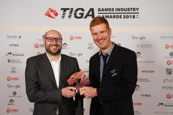 TIGA Games Industry Awards at the Guildhall London.  Best Racing Game - Codemasters  November 1 2018   Matthew Power Photography www.matthewpowerphotography.co.uk 07969 088655 mpowerphoto@yahoo.co.uk @mpowerphoto